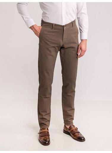 Dufy Taş Armür Pamuk Lıkra Karışımlı Erkek Pantolon - Regular Fıt Kahve
